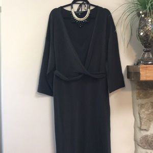 ELOQUII Black V-neck Faux wrap dress  size 22